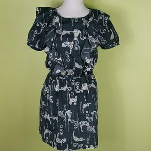 Peppermint cat printed dress with ruffles size M